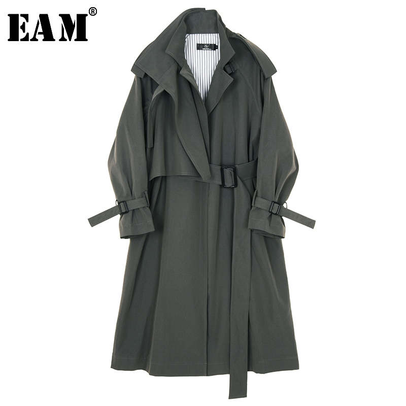 [EAM] Women Gray Brief Bandage Long Big Size Trench New Lapel Long Sleeve Loose Fit Windbreaker Fashion Tide Spring 2020 JX450