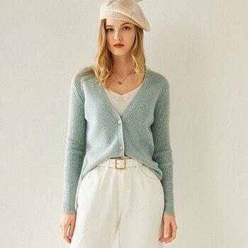 Осенне зимний новый женский кардиган с v образным вырезом, 100% чистый кашемир, в Вертикальную Полоску, однобортный свитер, Трикотажное коротк