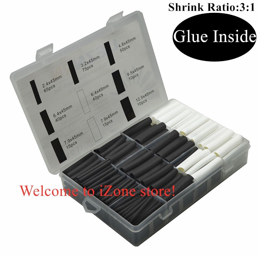 320PCS Heating  Shrink Dual Wall Tubing With Adhesive Insulated Sleeve  Cable Sleeve Glue Shrink Ratio 3:1 With Box Assortment