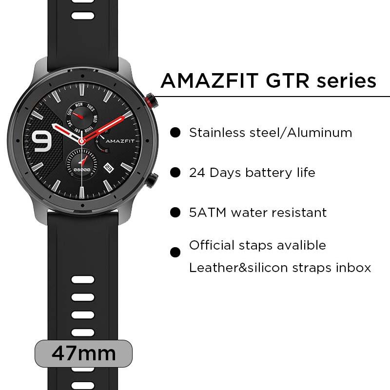 Versión Global Amazfit GTR 47mm reloj inteligente 5ATM reloj inteligente impermeable 24 días batería Control de música cuero silicona Correa - 4