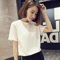 Женская свободная Однотонная футболка Ulzzang, универсальная белая футболка с короткими рукавами в Корейском стиле для студентов, Новинка лет...