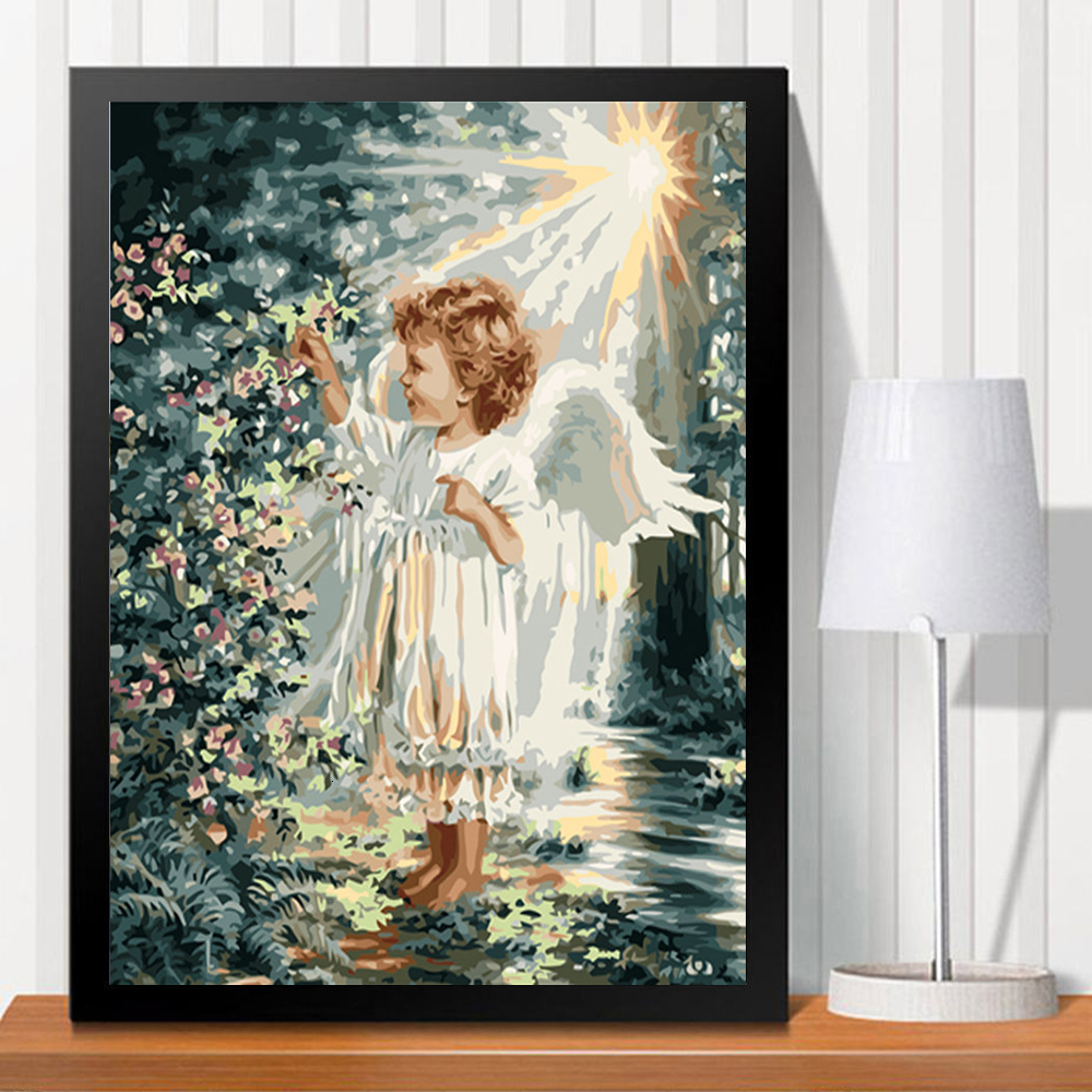 HUACAN Painting By Numbers Angel Girl DIY Coloring HandPainted Kits Drawing Canvas Pictures Figure Home Decor