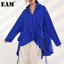 Long-Sleeve Thin Jacket Pocket EAM Women Coat Spring Autumn Big-Size Tide Hooded Fit-Blue