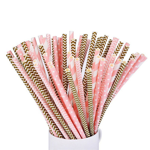Image 4 - Pajitas de papel de aluminio para decoración de fiestas de cumpleaños, pajitas de papel doradas, rosas y plateadas, 25 uds.