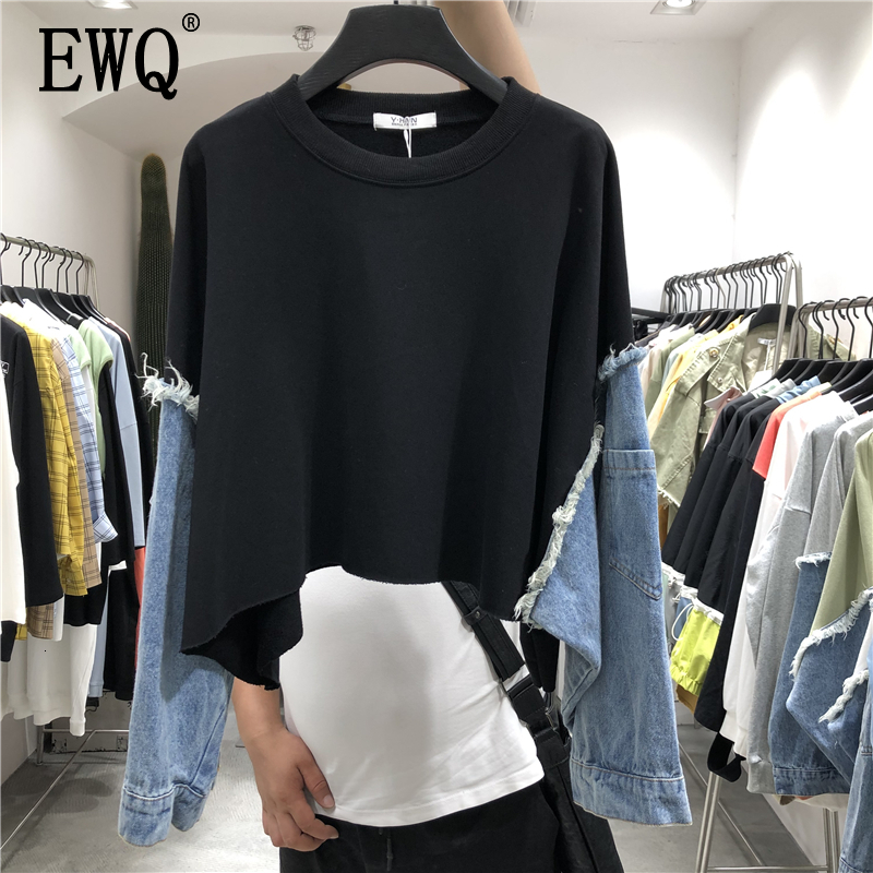 [EWQ] 2020 Spring Summer New Pattern Round Collar Long Sleeve Denim Patchwork Pullovers Streetwear Sweatshirt Women AH61206