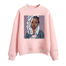 sudaderas para mujer Melanin Poppin hoodies black African kawaii girl printed pink sweatshirt women clothing streetwear sping autumn winter casual clothes velvet thicken coat Christmas present