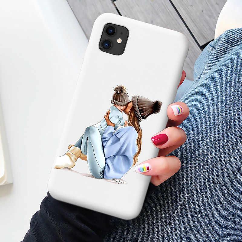 Cukierki etui na telefony dla iphone 11 SE 2020 Super tata mama dziewczynka moda rodzina Coque dla Iphone 11 Pro Max X XS Max XR 6 7 8 Plus
