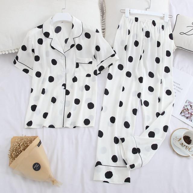 Пижама JULYS SMTWB из искусственного шелка, комплект из 2 предметов, женская пижама в горошек, повседневные длинные штаны с отложным воротником и коротким рукавом, домашняя одежда