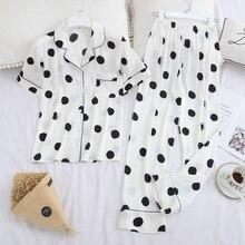 Ropa de dormir de JULYS SMTWB de 2 piezas de seda de imitación, Pijama de lunares para mujer, conjunto de cuello con solapa, pantalón corto informal con manga larga, ropa para el hogar