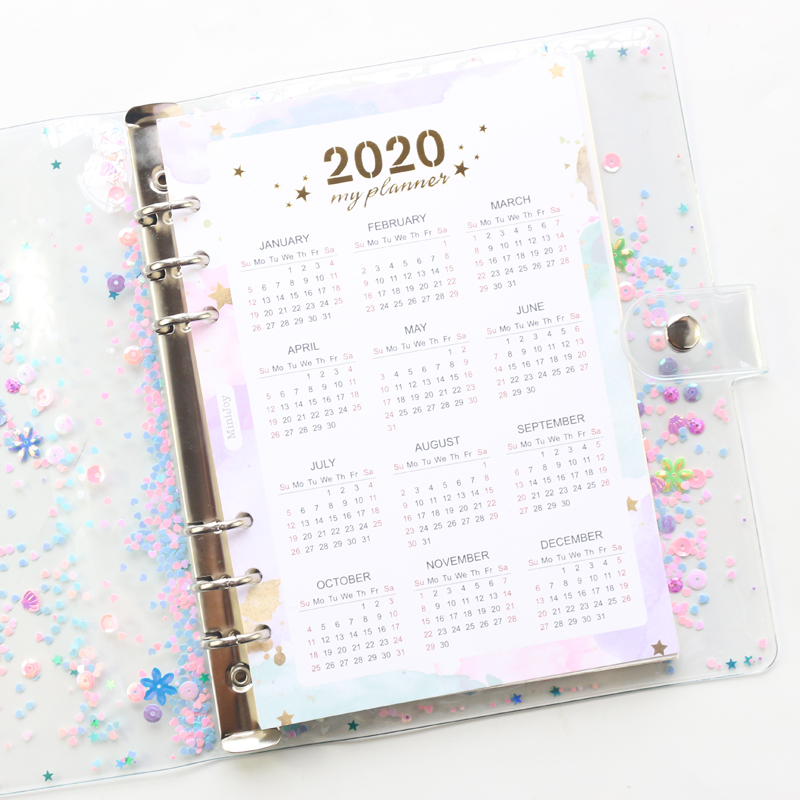 Domikee Cute 2020 Year Calendar Paper Divider For 6 Rings Binder Planner School Spiral Notebooks Accessories Stationery A5A6