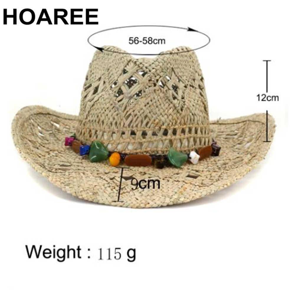 HOAREE Cowboy Hut Sommer Stroh Frauen Hüte Handgemachte Sonnenhut für Männer Cowgirl Falsche Edelstein Dekoration Casual Strand Kappe Panama