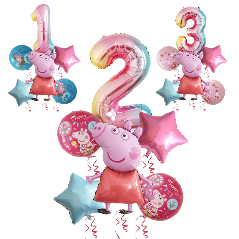 6pcs Peppa Pig Color George Birthday Party Balloon Decor 1 2 3 Birth Number Globos Pink Blue Pig Baby Shower Toys Party Supplies