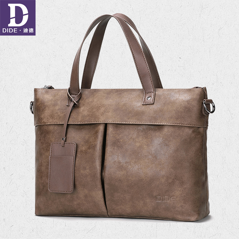 DIDE New Business Men Briefcase Bag PU Leather Luxury Brand Designer Laptop Bag Male Office Briefcase Handbag Khaki