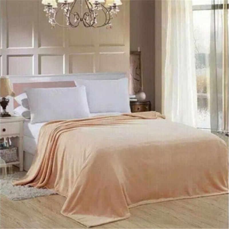 المنسوجات المنزلية الخريف الشتاء الفانيلا بطانية جديدة دافئة لينة المرجان الصوف بطانية الفراش الكبار الصلبة غطاء السرير أريكة سرير يغطي الساخن