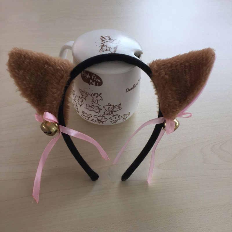 Cosplay Lolita Tassel piękny Anime Party Lolita Maid przebranie na karnawał kocie uszy łuk z dzwonkiem Hairbands uszy Catsuit F3
