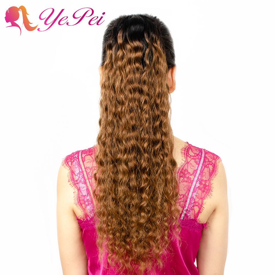 Natural Wavy Ombre Drawstring Ponytail Human Hair Clip In Extensions For Black Women Yepei Pony Tail