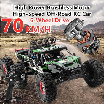 Professional Off-Road RC Car 70KM/H High Speed 4WD Brushless 2.4G 4CH 6 Wheels 49cm 1:12 Large Size Remote Control Climbing Car image