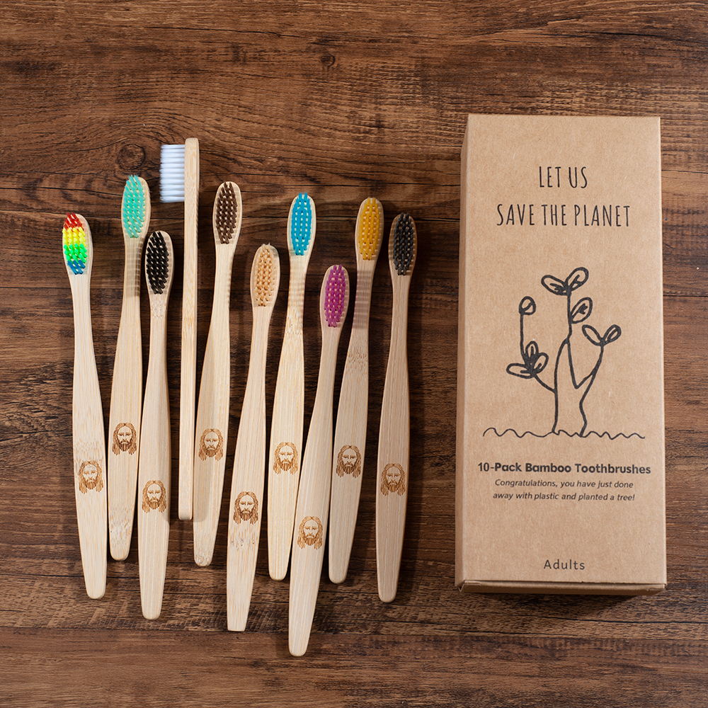 New Design Jesus Bamboo Toothbrush 10 Pack Eco Friendly Adults Toothbrush Soft Bristle Tip Charcoal Adults Oral Care Toothbrush