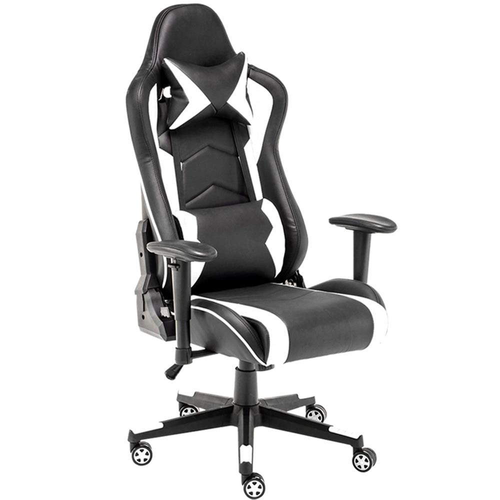 E-cadeira de esportes, cadeira de jogo com encosto de cabeça e apoio de massagem da cintura, rotação ajustável da altura da cadeira do computador do estilo de corrida, bonita