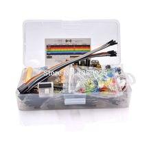 Kit básico de iniciación de componentes electrónicos, con resistencia de Cable de placa de pruebas de 830 puntos de amarre, condensador, LED, potenciómetro
