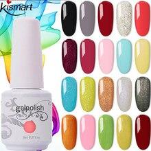 Nuevo Kismart de uñas de Gel polaco 8ml Lak de Gel UV 369 colores de esmalte de uñas laca remojo pintura de Gel LED clavo híbrido arte DIY resina Primer