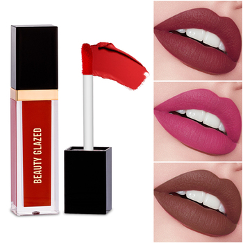 Beauty Glazed 24 Colors Matte Lip Gloss Natural Long-lasting Waterproof No Fading Non-stick Cup Lip Glaze Sexy Lip Makeup TSLM1 beauty glazed brand makeup lipstick lip gloss matte easy to wear long lasting waterproof lip gloss lip 6 colors in set