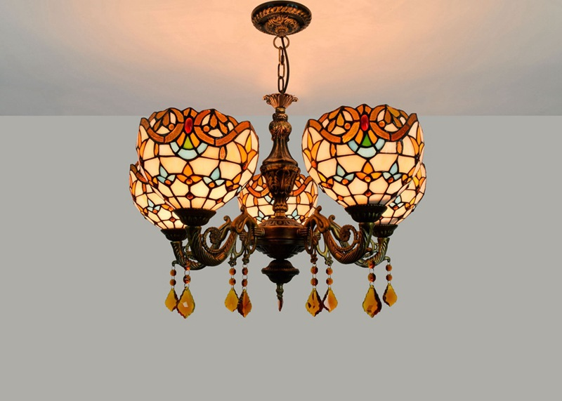 barra de cristal barroco 5-head lustre