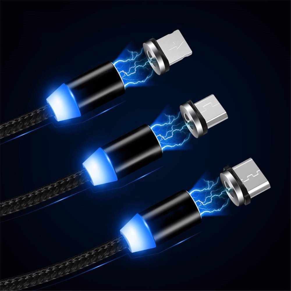 Magnética Micro USB Cable para IPhone X XS X 8 7 Plus Samsung teléfono móvil Android rápido de carga USB tipo C cable de Cable cargador