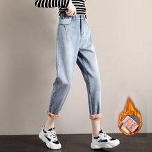 Размера плюс джинсы с флисом для женщин Зимняя одежда 2020 в