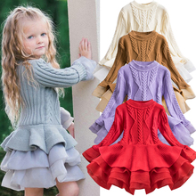 US $5.38 25% OFF|2019 Winter Knitted Chiffon Girl Dress Christmas Party Long Sleeve Children Clothes Kids Dresses For Girls New Year Clothing-in Dresses from Mother & Kids on AliExpress - 11.11_Double 11_Singles' Day