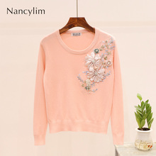 2019 Autumn Woman Tracksuit Sweater New Sequins Embroidered Three-dimensional Flowers Long-sleeved Female Pullovers