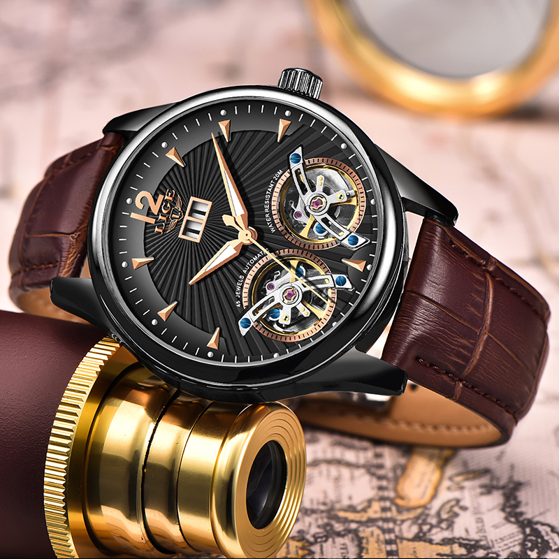 Watch Men 2020 LIGE New Dual Tourbillon Leather Mens Watches Top Brand Luxury Automatic Mechanical Clock Male Sport Wirstwatch