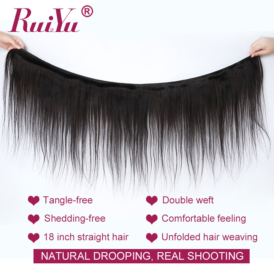 Image 2 - Straight Hair Bundles With Closure Brazilian Hair Weave Bundles With Closure RUIYU Human Hair With Closure Non Remy Hair Extens-in 3/4 Bundles with Closure from Hair Extensions & Wigs