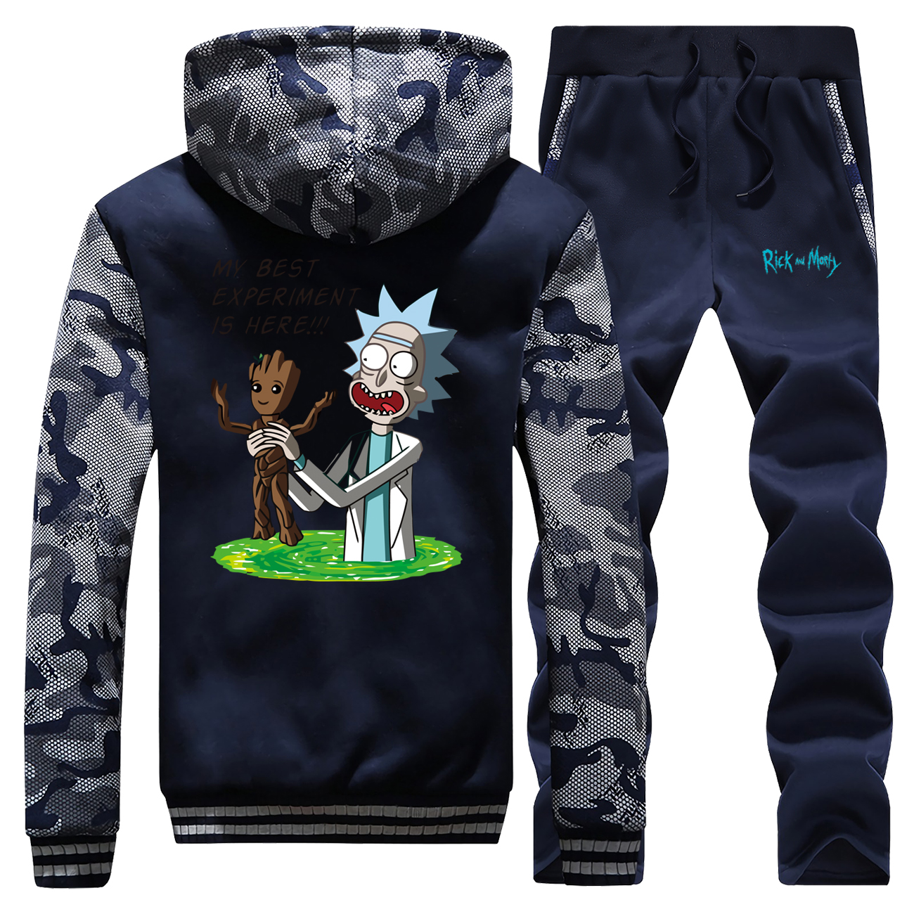 Funny Hoodies Pants Set Men Rick And Groot Tracksuit CoatMy Best Experiment Is Here Winter Thick Fleece Jacket Camo 2 Piece Sets