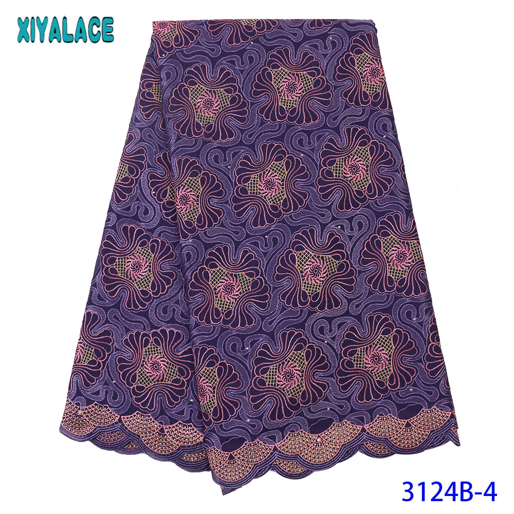Swiss Voile Lace In Switzerland African Fabric Cotton Laces Fabric Embroidery Lace With Stones For Women KS3124B