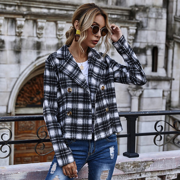 Autumn and Winter Double Breasted Large Lapel Short Plaid Fashion Street Style Jacket blue blazer  tweed set  women clothing za women double breasted check blazer long sleeve lapel collar blazer front flap pockets double breasted front button fastening