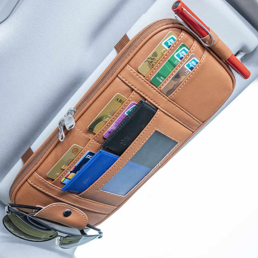 Color Name : Beige XINGFUQY Car Auto Sun Visor Point Pocket Organizer Pouch Bag Card Glasses Storage Holder Car-Styling