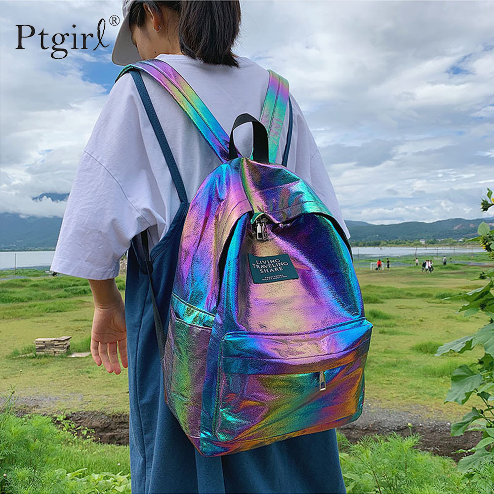 New Female Holographic Backpack Waterproof Nylon Fabric Travel Backpack For Teenager Girls Casual School Bag Mochila Escolar Sac