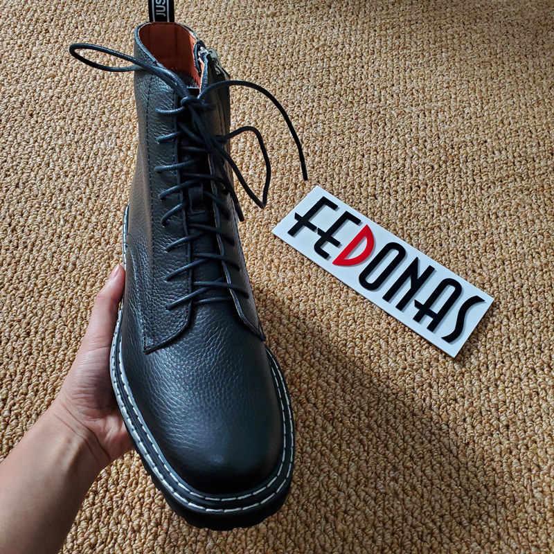 Botines de cuero genuino de marca FEDONAS estilo europeo de calidad para mujer, botas de moto de gran tamaño para mujer, zapatos de tacón alto para fiesta para mujer
