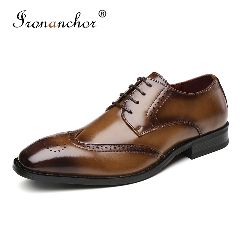 2019 Genuine Leather Men formal shoes italian high quality classic elegant men dress shoes KB3210 6