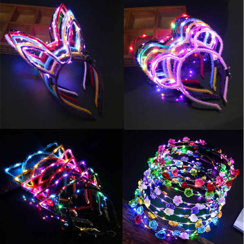 Luminescence coiffe chat oreille lapin oreille bandeau avec LED jouets Flash