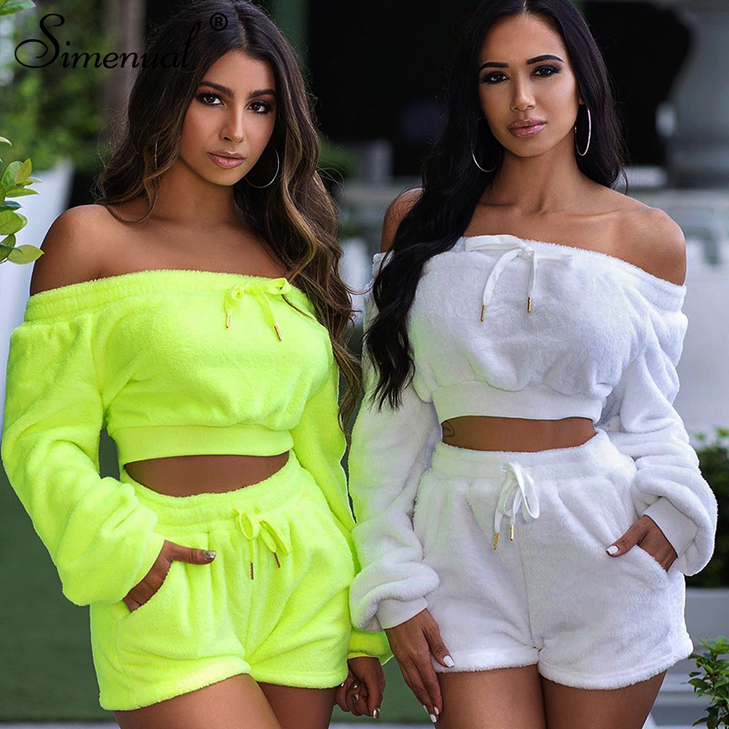 Simenual Plush Off Shoulder Casual Co-ord Sets Women Autumn Winter Fashion Two Piece Outfits Long Sleeve Crop Top And Shorts Set
