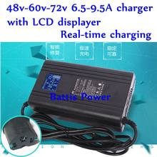 LCD Lithium Lifepo4 Lead Acid Battery Charger for Electric Car Ebike Automatic Power 48v 60v 72v 6.5A 9.5A Power LCD Charger(China)