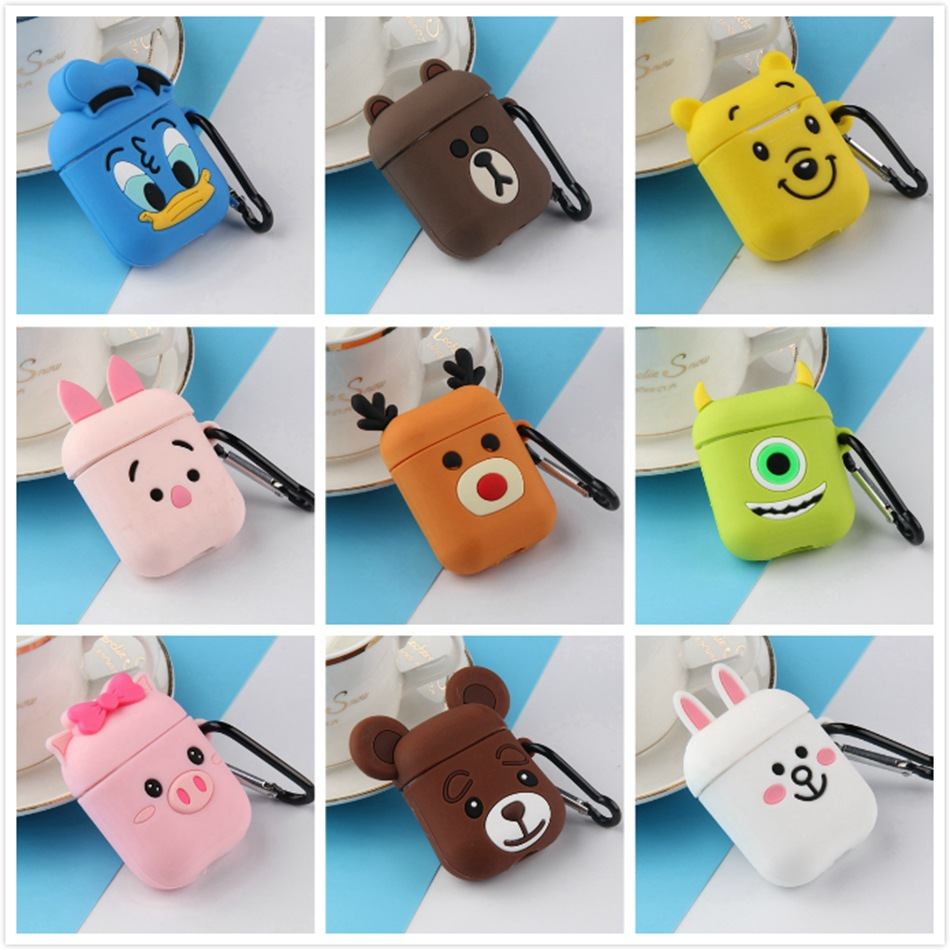 3D Earphone Case For AirPods 2 Case Silicone Cute Cartoon Bear Cover For Apple Air Pods Headphone Case Cat Pig Finger Ring Strap