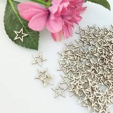 100 pièces 30mm creux étoile en bois Scrapbooking Art Collection artisanat bricolage à la main