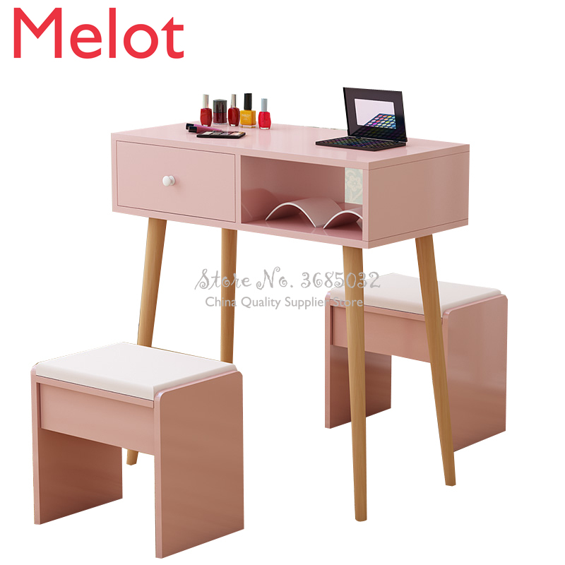 Nordic Pink Nail Tables & Stools with wooden legs Durable Single Manicure Desk and Chair With drawer Salon Furniture 80*40*75cm