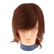 Male Mannequin Head with Human Hair for Barber Shops Styling Cutting Practicing