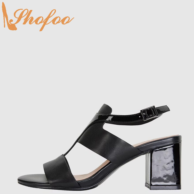 Black Patent Patchwork High Chunky Heels Open Toe Ankle Strap Buckle Large Size 12 13 Ladies Summer Fashion Mature Shoes Shofoo