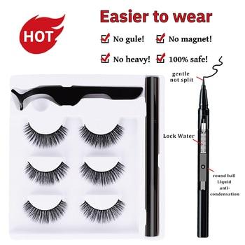 Delineador de ojos autoadhesivo, conjunto de 3 pares de plumas, secado rápido, extensión de pestañas No magnético, herramienta de maquillaje Natural de imitación, venta al por mayor