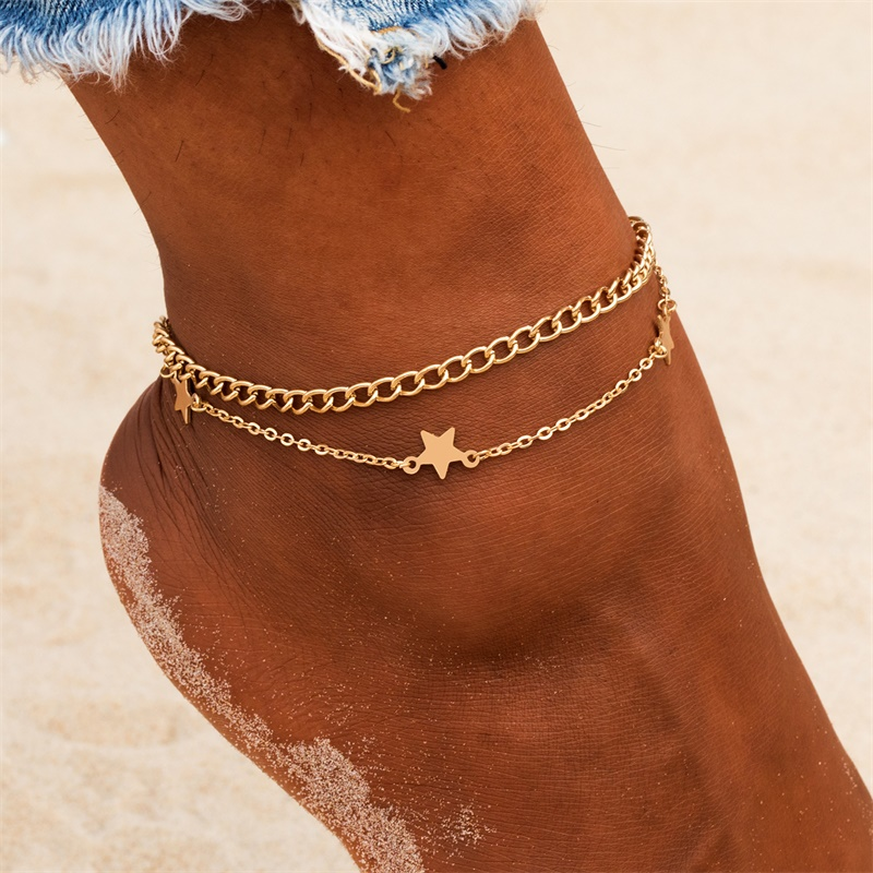 2020 Boho Star Anklet Bracelet For Women Gold Multilayer Crystal Anklets Chain Foot Bracelet on Leg Beach Jewelry Accessories